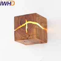 IWHD Wood Loft Industrial Vintage Wall Light Fixtures Square Retro LED Wall Lamp Stairway Lighting Fixtures Lampara Pared