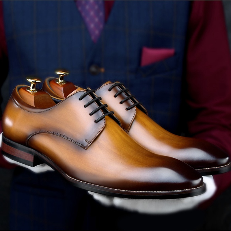 Italian Style Genuine Leather Men's Formal Dress Flats Pointed Toe Derby Male Footwear Luxury Wedding Party Man Shoes HNK21 цена 2017
