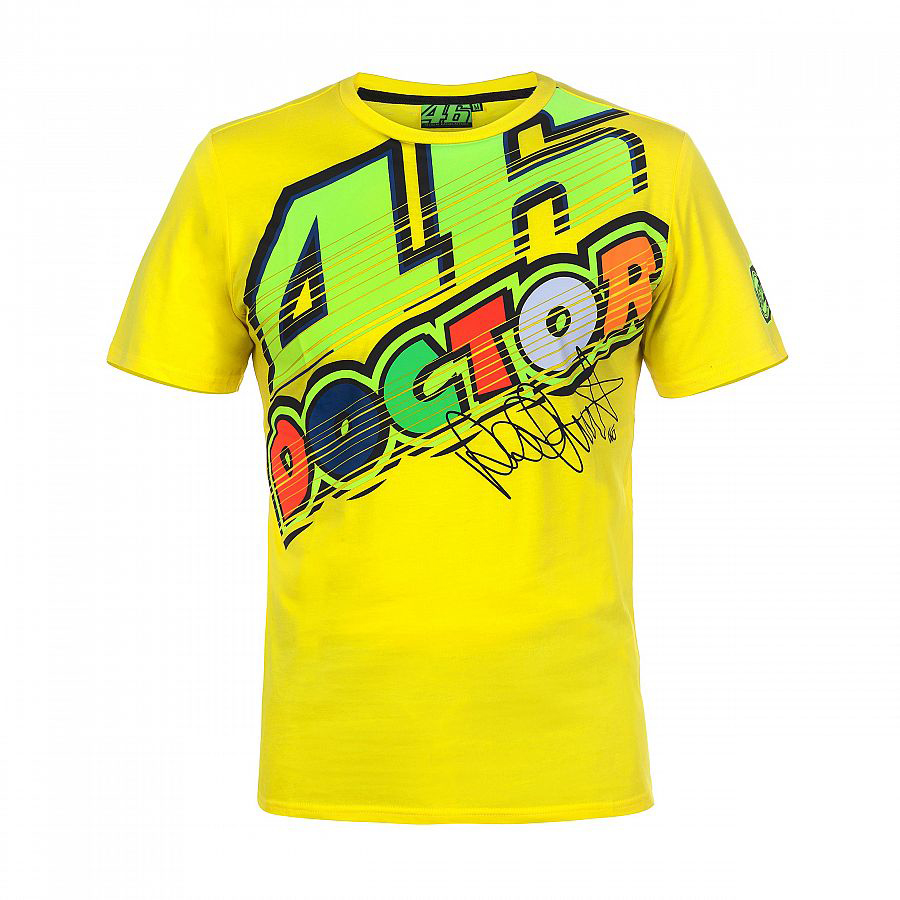 2018 VR46 Valentino Rossi T-Shirt Moto GP Motorcycle Racing 46 The Doctor signature Yellow T shirt