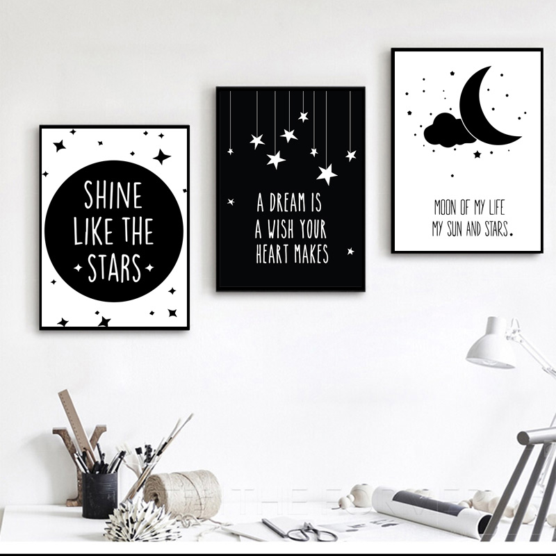 Nordic Minimalist Black White Quotes Art Canvas Painting Poster