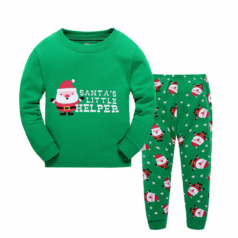 2Piece 2 7Years Kids Christmas Pajamas Cartoon Santa Claus Children Clothing Sets T shirt Pants Baby