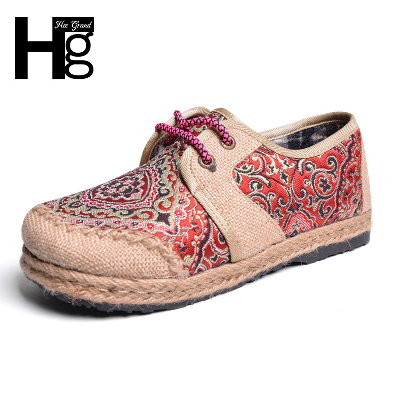 HEE GRAND Traditional Women's Flats Chinese Style Round Toe Vintage Hemp Craft Women Shoes Autumn Winter Shoes XWM167 vintage embroidery women flats chinese floral canvas embroidered shoes national old beijing cloth single dance soft flats