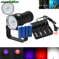 12000LM 10x XM L2 LED Underwater 100m Scuba Diving Flashlight Torch+18650+Charge Free Shipping #NO15