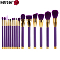 Hotrose Makeup Brushes 15pcs Professional Synthetic Cosmetic Blending Contour Eyebrow Foundation Kabuki Makeup Brush Kits Hot
