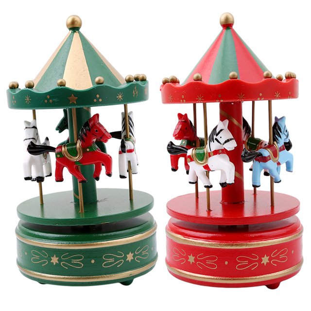 merry go round wooden music box decor carousel horse music box christmas wedding birthday - Christmas Carousel Decoration