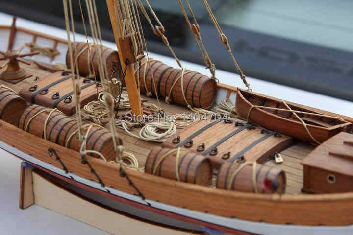 NIDALE Model Sacle 1/48 classical Ancient Sailboat model kit : Mediterranean LEUDO 1800-1900 Ship Wooden Model