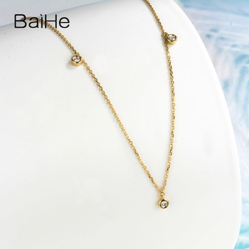 BAIHE Solid 18K Yellow Gold Certified H/SI 0.15ct Round cut Natural Diamonds Women Fine Diamond Jewelry Trendy Wedding Necklaces 4