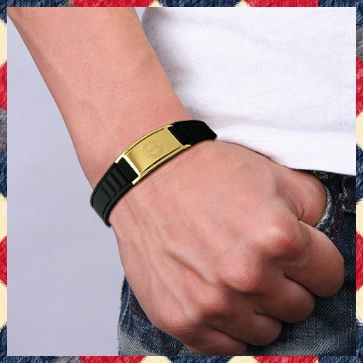 B035g Antifatigue balance scalar energy wristband men gold stainless steel magnetic bracelet titanium bracelets health benefits