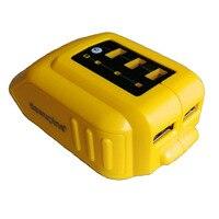Cargador convertidor USB DCB090 para DEWALT 14 4 V 18V 20V Li-ion batería convertidor DCB090 USB dispositivo de carga adaptador fuente de alimentación