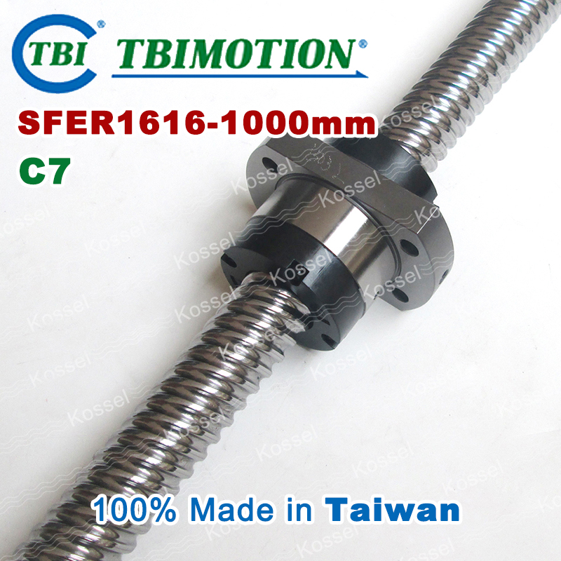 цены TBI ROLLED BallScrew 1616 ( SFE1616-3 ) SFE1616 / SFER1616-A2-D-F-C7 length 1000mm 2 rows steel ball nut