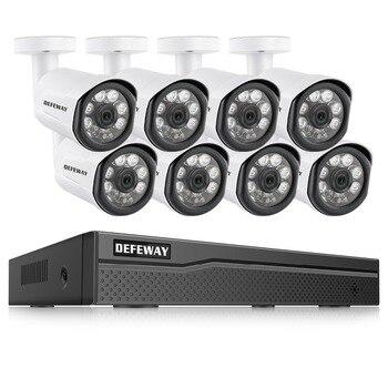 DEFEWAY 8CH HD 1080 P Poe การเฝ้าระวังวิดีโอกล้อง IP Home Security กล้องระบบ POE 8 กล้อง IP การเฝ้าระวังวิดีโอชุด
