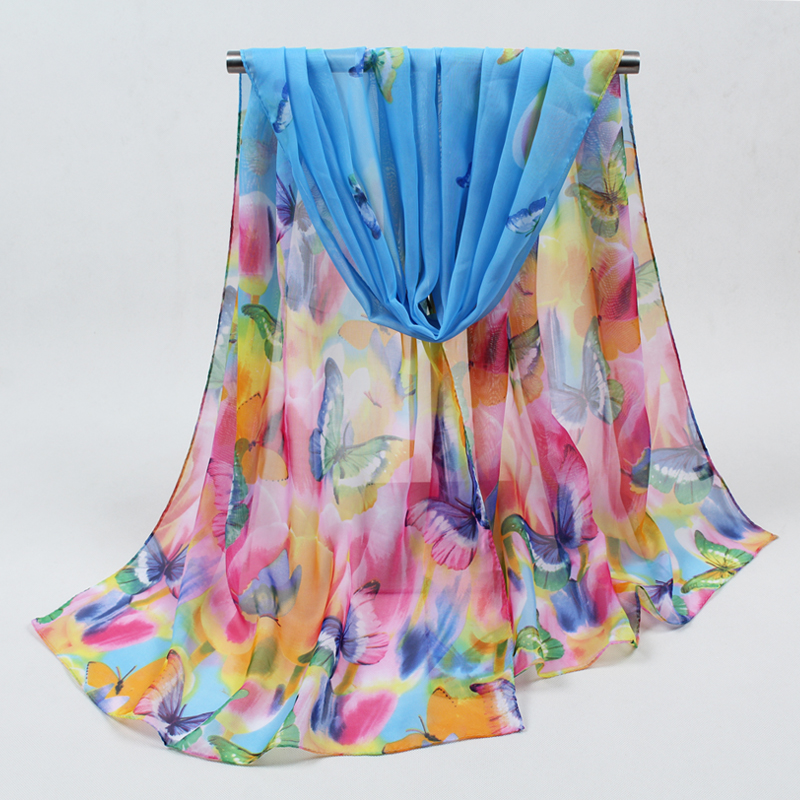 2019 Hot Sale Print Silk   Scarf   Chiffon   Scarves   Women   Wrap   Sarong Sunscreen Beach Cover Up Long polyester Cape Female FD042
