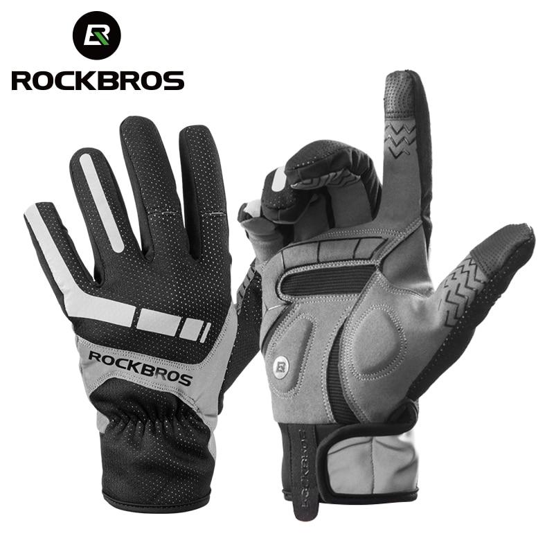 ROCKBROS Ski Gloves Touch Screen Windproof Thermal Winter Snow Gloves Men Women Sport Snowboard Thick Anti-slip Skiing Gloves