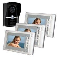 FreeShip 7″ TFT Color Video Door Phone Intercom Doorbell System Kit 700TVL Door Monitor One To Three Video DoorPhone Smart Home