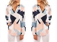 Fashion Women Loose Long Sleeve Print Blouse Tops Summer Lady Casual V Neck Cotton Tops Shirt
