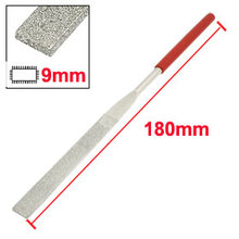 Uxcell Hot Sale 1 Pcs 5mm x 180mm Glass Stone Handle Tool Flat Diamond Files Red Silver Tone