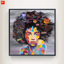 New Graffiti Street Wall Art Abstract Modern African Women Portrait Canvas Oil Painting On Prints For Living Room(China)