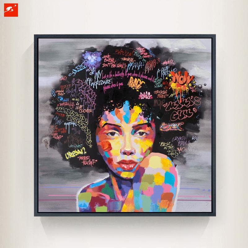 nouveau graffiti rue mur art abstrait moderne africain femmes portrait toile peinture l 39 huile. Black Bedroom Furniture Sets. Home Design Ideas