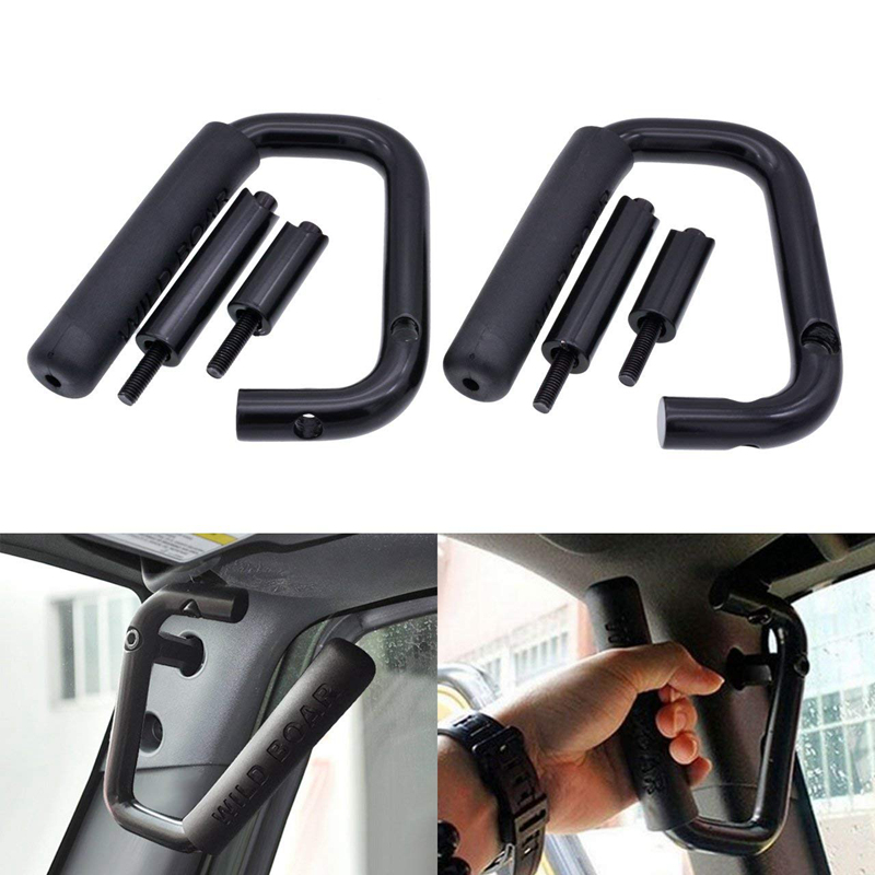 KaTur 1 Pair Front Grab Handle Grab Bar for Jeep Wrangler JK Rubicon Sahara Sport 2007-2017 2/4 Door Solid Steel Red Black 2pcs new car red solid steel front grab handles with power coated surface resist rust for jeep wrangler 2 4 door 2007 2015
