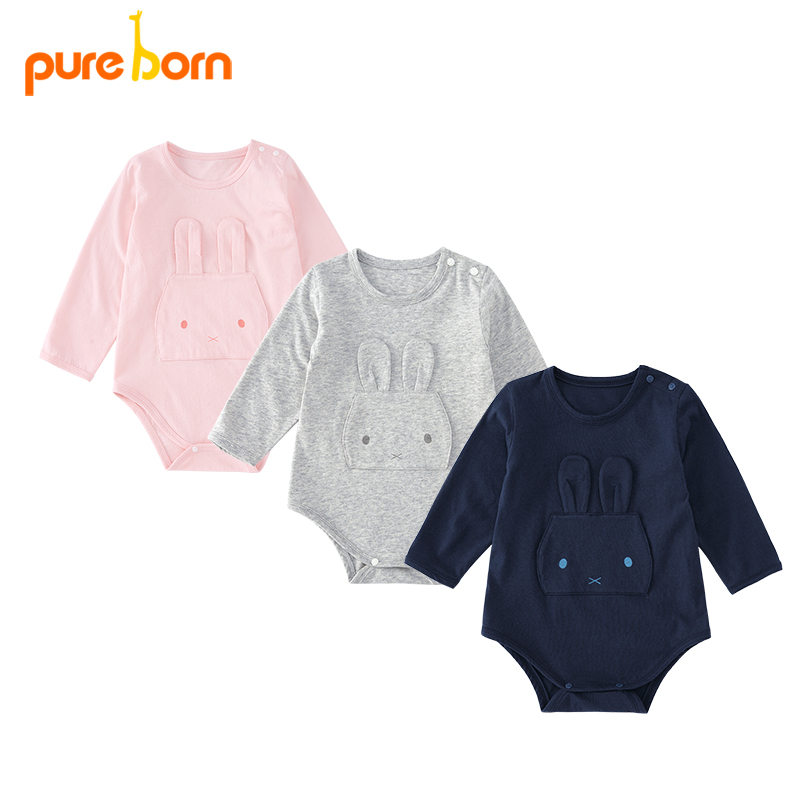 Pureborn Baby Bodysuit Solid Cute Bunny Newborn Baby Clothing Long Sleeve Cotton Girls Boys Clothes Jumpsuit Infant Costumes New 2018 new baby rompers baby boys girls clothes turn down collar baby clothes jumpsuit long sleeve infant product solid color