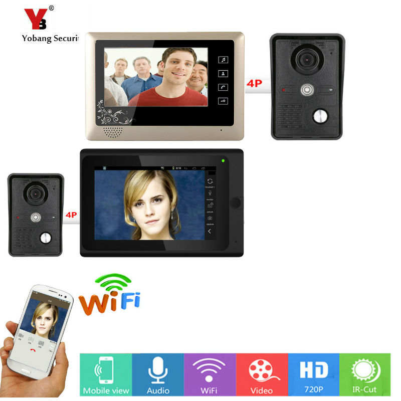 Yobang Security 2*7inch Wireless/Wired Wifi IP Video Door Phone Doorbell Intercom Entry System with 2 Wired Camera Night Vision 2 4g wired