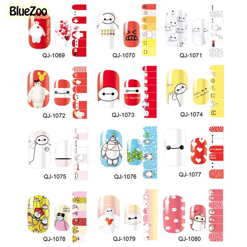 BlueZoo 12 Sheets/set Cartoon Stickers For Nail Full Cover Baymax Nail Art Sticker Patch Beauty Foils Decals Polish Gel Manicure 12x sexy colorful full cover nail art polish sticker metal adhesive foils patch diy beauty nail art tools y stzj 18