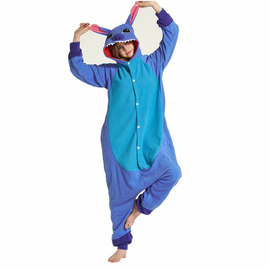 Взрослых флис kigurumi костюм животного синий стежка Onesie пижамы Хэллоуин  карнавал-маскарад комбинезон Костюмы d6c257126bc9c