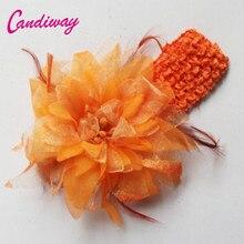 2017 Moda Hairwear Mulheres Meninas Elastic Flor Grampos Barrette Hairclip Laranja Decoração de Casamento Acessórios Para o Cabelo Cabeça