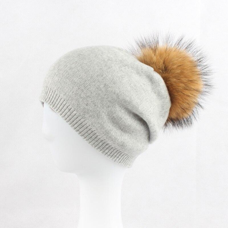 Lady Real 30% Wool Skullies Beanies Hats 15CM Raccoon Fur Pom Pom Hat Female Winter Warm Caps Fashion Headgear LF4078 skullies