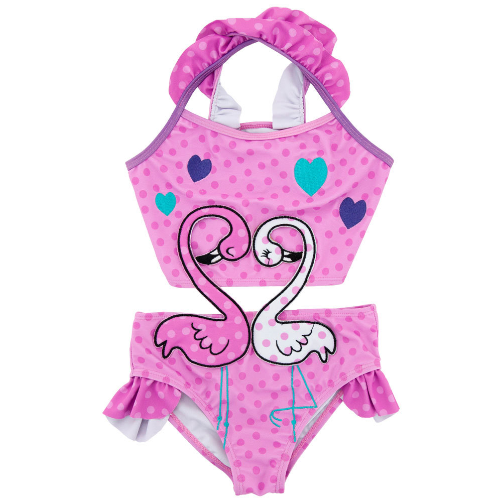 Summer Baby Kids Girls Swimwear Hot Spring Swimsuit Dots Princess Cute Swan Swimming Suits Bikini Children Beach Bathing Suit