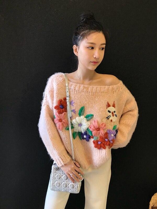 Lourd Broderie Chat Limitée Printemps 2019 Chandail Jardin Épaule Pull Travail Rose Mohair Jumper Nouveau Pour Fuite Femmes De 4qxwAOC
