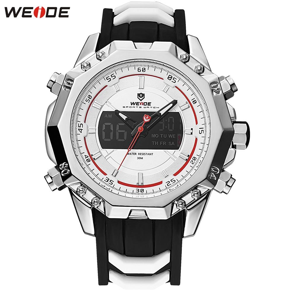 2018 Original Fashion WEIDE Silver White Man Watch Sport Watch Digital Quartz Watch Men Silicone Band Stopwatch Wristwatch Clock все цены