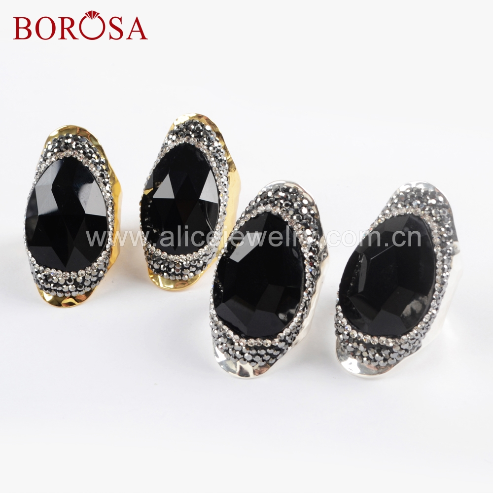 BOROSA 5PCS Gold Silver Color Rhinestone Paved Black Agates Faced Ring Druzy Party Rings Jewelry for