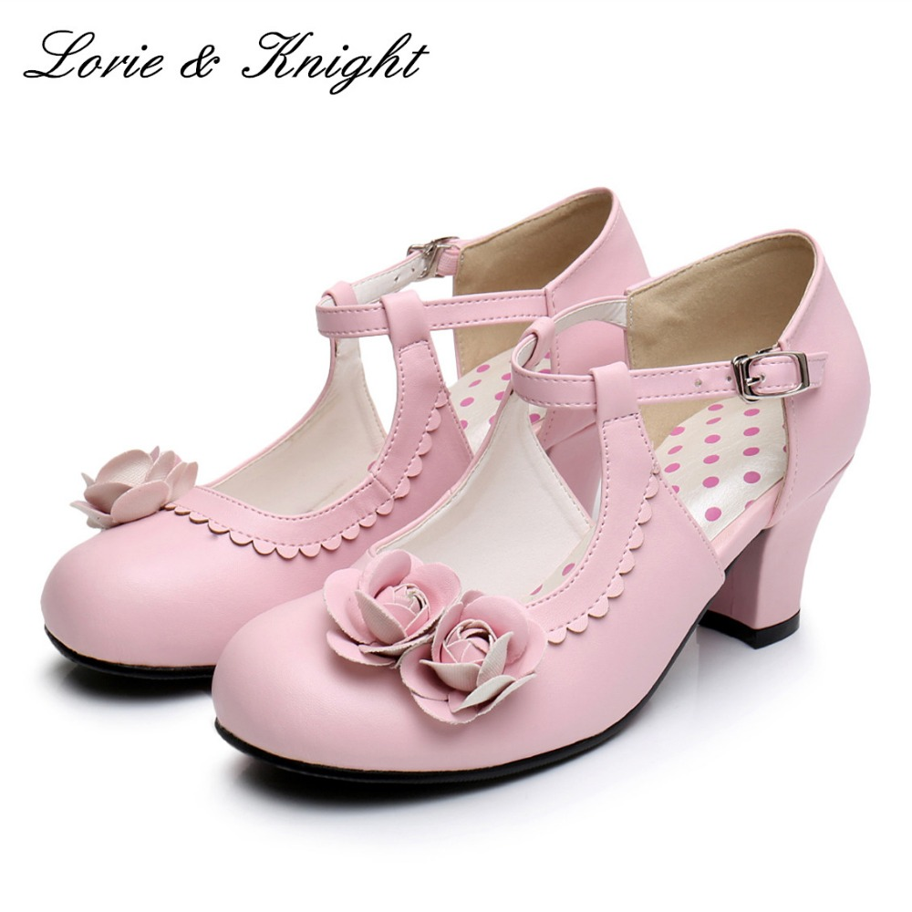 Women Vintage Mary Jane Shoes Medium Heel Round Toe Rose Decor Lolita Shoes School Girl Shoes