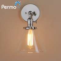 PERMO Loft Vintage Sconce Wall Lights Dia 7.3 Wall Lamp Funnel Clear Glass Shade Vintage Industrial Home Christmas Lights