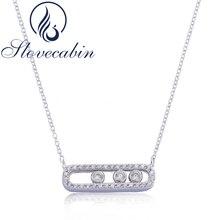 Slovecabin 2017 Франция Реал стерлингового серебра 925 Цепочки и ожерелья с тремя перемещены камень Ясно CZ для Для женщин jewelry Интимные аксессуары
