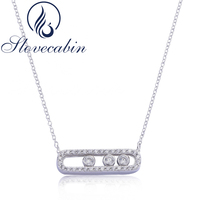 2017 France Famous Real 100 925 Sterling Silver Fashion Necklace With Three Moved Stone Clear CZ
