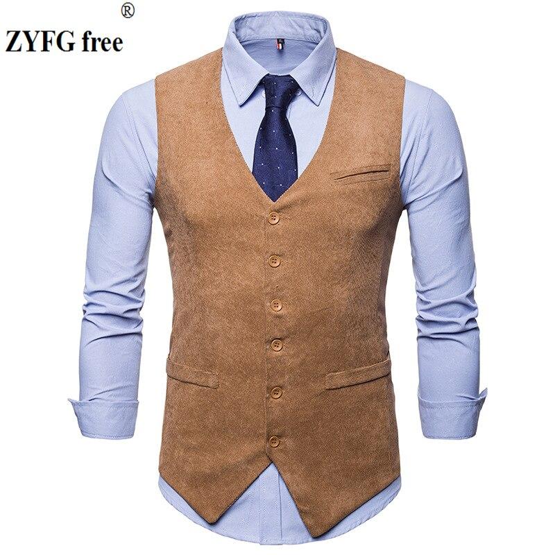 ZYFG Free Men's Casual Suit Vest Single Breasted Vintage Design Vest Corduroy Blends Solid Color Slim Fit Vest Tops