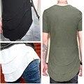 Justin Bieber camisa Estendida T Mens Fishtail Multi Fold Bainha Curva Zíper lateral Espinhel Manga Curta camisetas Hip Hop KANYE WEST