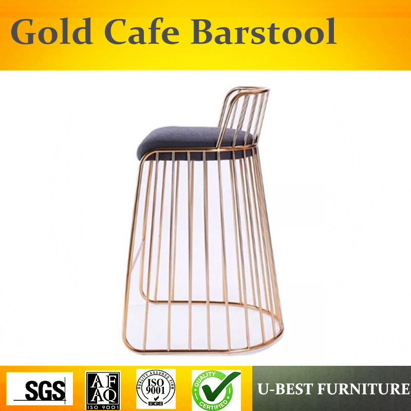 U-BEST outdoor industrial rose gold metal wire stainless steel barstool bar stool