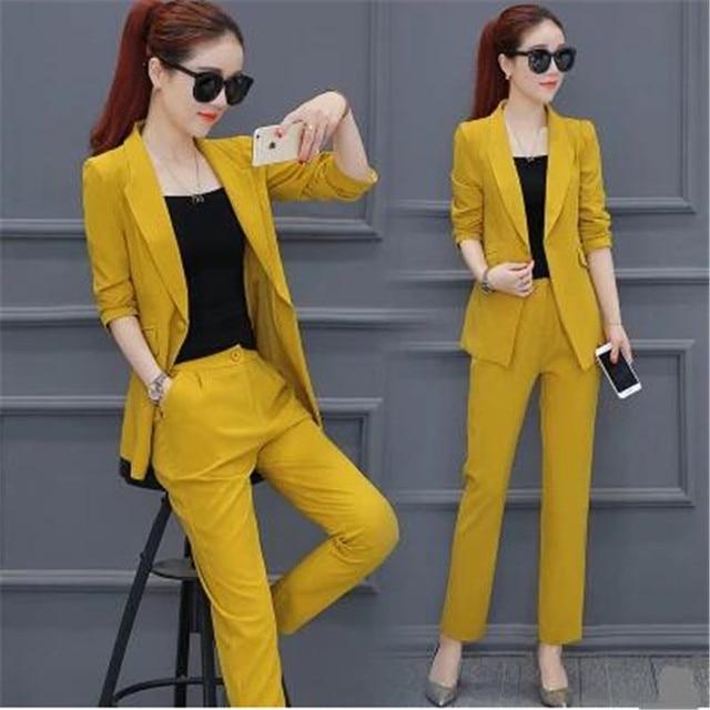 b329ae016d4 Новый женский костюм элегантный плюс размер женский брючный костюм Корея  Весна Осень офисный костюм для женщин