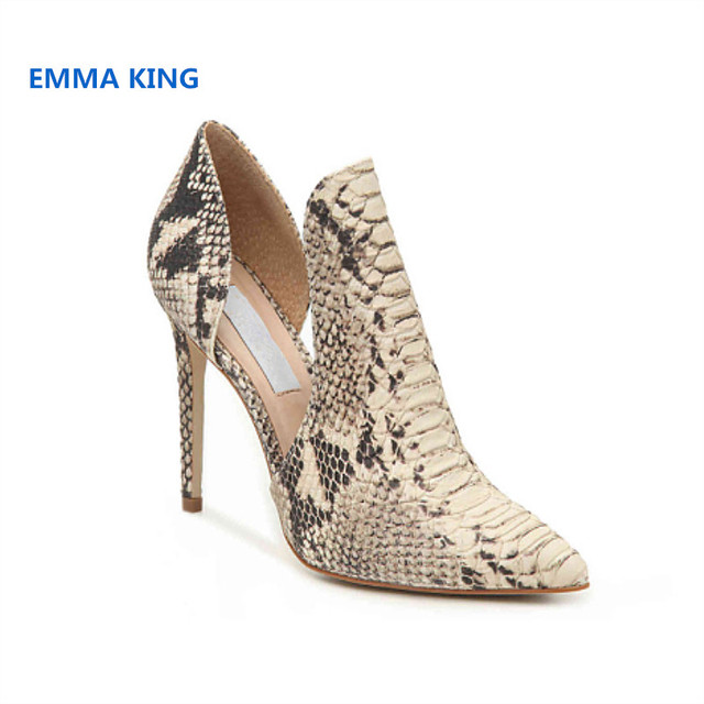 2019 Snake Prints Stylish Women High Heels Pumps Pointed Toe Sexy Side Hollow Ladies Party Shoes Spring Slip-On Stilettos Pumps