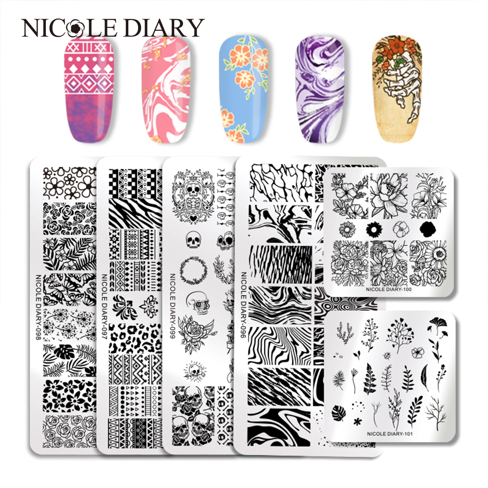 Templates-Tools Marble-Plate Nail Image Nicole Diary Stainless-Steel Mixed-Designs Rectangle