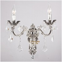 Classic Golden Crystal Wall Light Fixture Silver Wall Sconces Lamp Crystal Wall Brackets Light 2 Lights Free Shipping