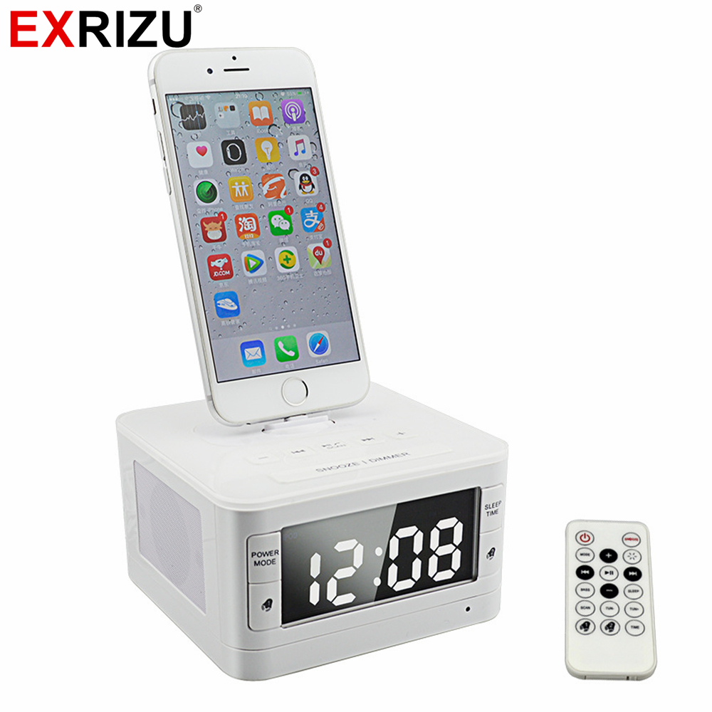 EXRIZU T7 8 Pin Portable Audio Music Bluetooth Speaker Fm Radio Alarm Clock Charger Dock Station for iPhone 8 7 6 6s Plus SE 5S 5pcs pocket radio 9k portable dsp fm mw sw receiver emergency radio digital alarm clock automatic search radio station y4408
