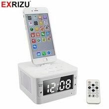 EXRIZU T7 8 Pin Tragbare Audio Musik Bluetooth Lautsprecher Fm Radio Alarm uhr Ladegerät Dock Station für iPhone 6 6 s 7 Plus SE 5 S