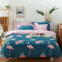 100% Cotton Flamingos Bedding Set Single Double Queen King Size Bed Clothes Duvet Cover Quilt Cover Pillow Cases Floral Bed Line цена