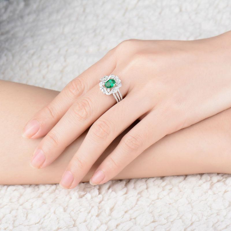 Yeni Dizayn Oval 5x7mm Təbii Zümrüd Diamond Ring 18K Ağ Qızıl - Gözəl zərgərlik - Fotoqrafiya 6
