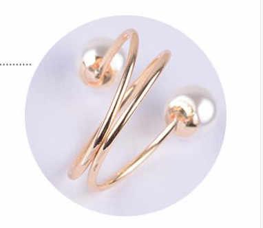 2019 Baru Warna Emas Besar Cincin Fashion Elegan Disimulasikan Mutiara Pembukaan Cincin Wanita Perhiasan Hadiah Grosir
