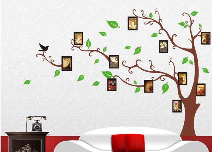 120 170 cm 3d diy tree wall decals photo family wall for Diy family tree wall mural